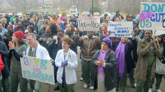 Rally rejects Governor Rell's budget cuts