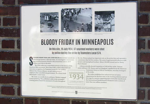 Plaque marks site where Minneapolis cops fired on striking workers