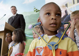 Hot battle: childrens health care vs. Bush