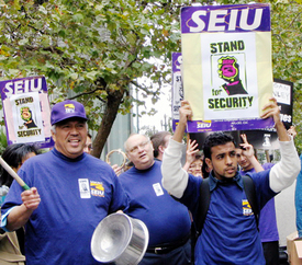 Security officers march for a living wage