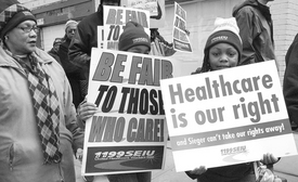 Health care workers demand health care