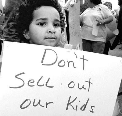 A simple message: Don't Sell Out Our Kids