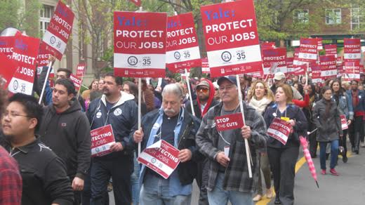 Rally for job security at Yale