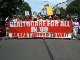 Thousands demand health care now!