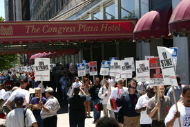 Communist convention pickets with hotel strikers