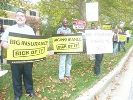 Health care rallies: 'Big Insurance Makes Me Sick!'