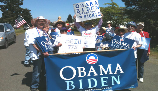 Irrigation Festival crowd greets Obama marchers