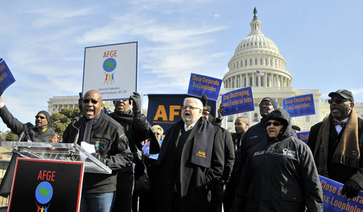 Government workers march on Capitol Hill