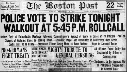 Today in labor history: 1919 Boston police strike
