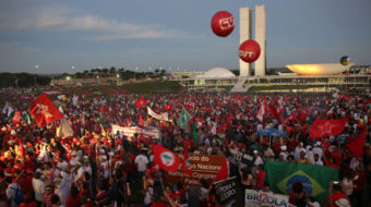 "Brazil's workers say, ""Stay Dilma, there will be no coup!"