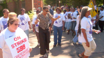 "At ""Spectrum of Shame,"" families back striking health care workers"