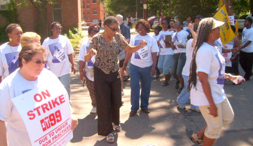 """At """"Spectrum of Shame,"""" families back striking health care workers"""