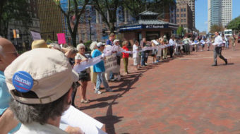 Demonstrators to Connecticut's Sen. Blumenthal: Peace yes! War, no!