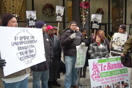 Activists rally for jobs and benefits in Chicago