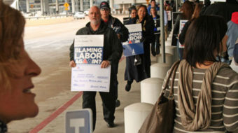 Targeted victims protest American Airlines bankruptcy plans