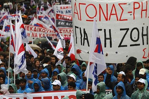 Eurozone chiefs rage at Greek PM, global unions demand Robin Hood tax