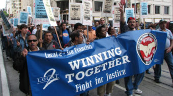 San Francisco hotel workers take to the streets
