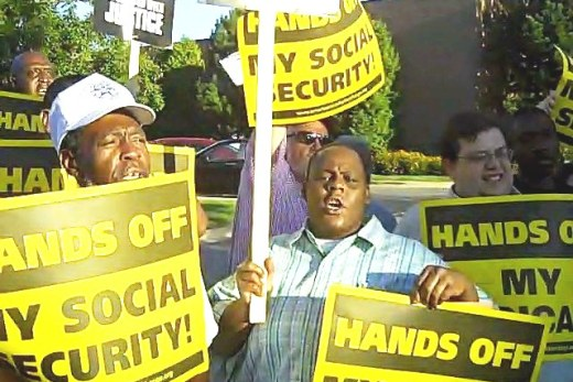 Protesters to GOP Kirk: hands off Social Security; jobs now