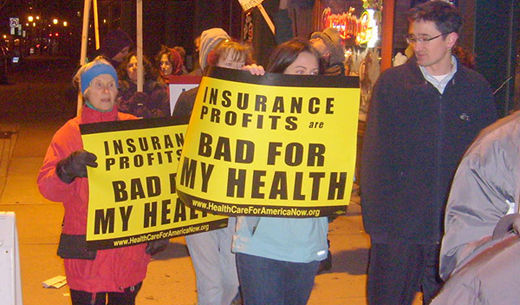 Rep. Larson's office greets emergency rally for health care