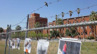 Mock border wall separates campus at the University of Arizona