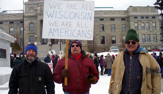 Braving bitter cold, Montana capital rally backs Wisconsin workers