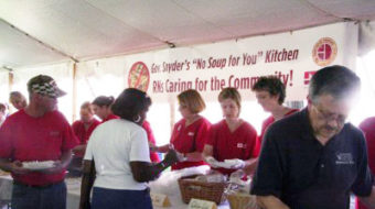 Michigan nurses protest GOP cuts with soup kitchen at State Capitol