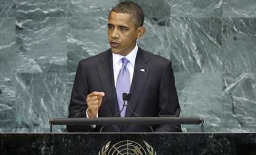 At UN, Obama highlights break with Bush policies