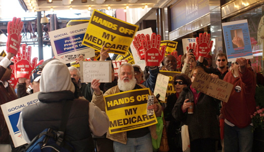 Chicago protesters swamp Ryan over Medicare attack
