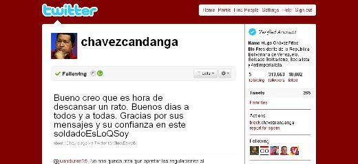 Venezuela's Chavez tweets for the revolution