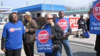 Cleveland workers protest Staples post office counters