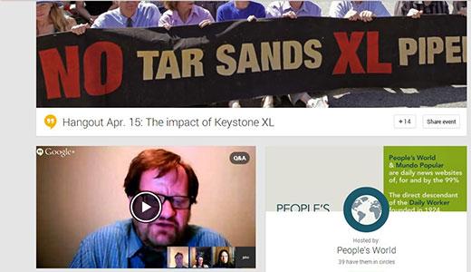 People's World Google Hangout focuses on shutting down the Keystone XL