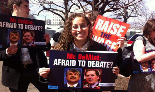 AFL-CIO leads demonstration for minimum wage hike outside Heritage Foundation