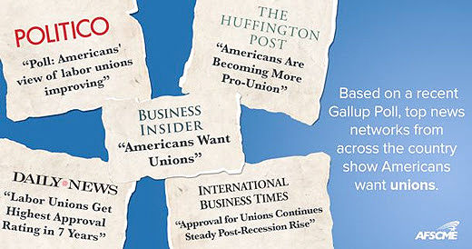 "Gallup poll: ""Americans want unions"""