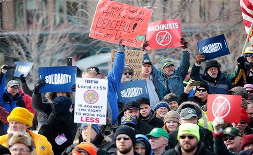 Wisconsin workers again battle Walker's anti-labor steamroller