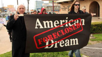 """Dallas """"funeral"""" protests foreclosures"""