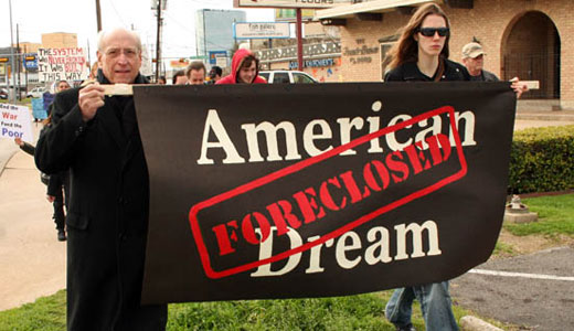 "Dallas ""funeral"" protests foreclosures"