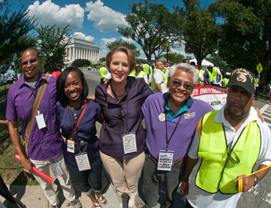 Union members swell the ranks of marchers in D.C.