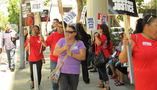 AT&T workers strike to protest unfair labor practices