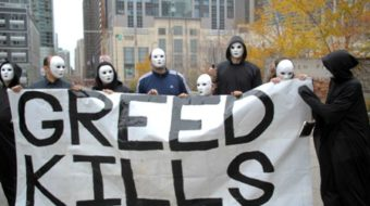 Protests rock Chicago bankers conference