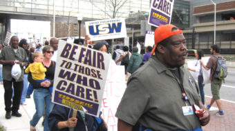 Baltimore hospital workers strike for low-paid workers