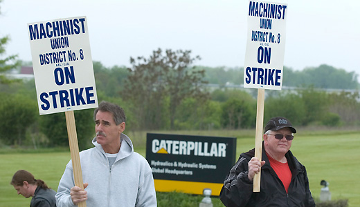 Caterpillar workers strike against take back contract