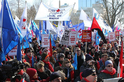 Canada's conservative government presses anti-union bill