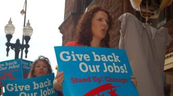 Chicago workers protest phony job creation