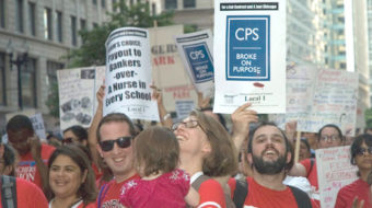 Teachers angry over stalled talks take downtown Chicago