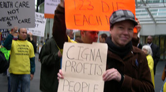 Seven arrested at CIGNA demanding 'profits out of health care'