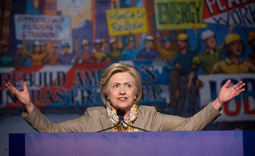 Hillary Clinton's pro-worker pledges excite building trades audience