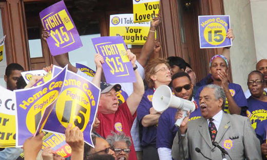 Low wage workers rally at Connecticut state capitol