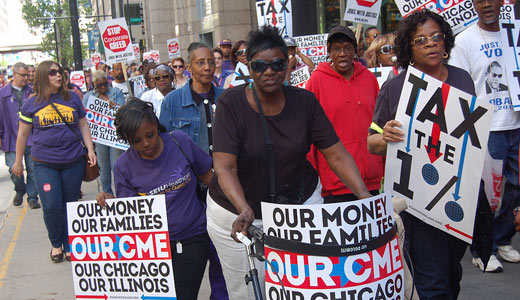 Pay your share! Community members crash Chicago Mercantile Exchange