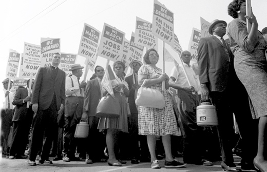 Today in labor history: Workers take part in protest against bank