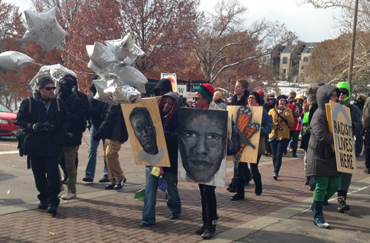 Street theatre a part of Ferguson area protests this week